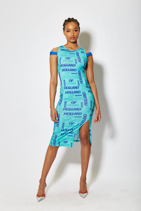 House of Holland all over print sleeveless fitted dress