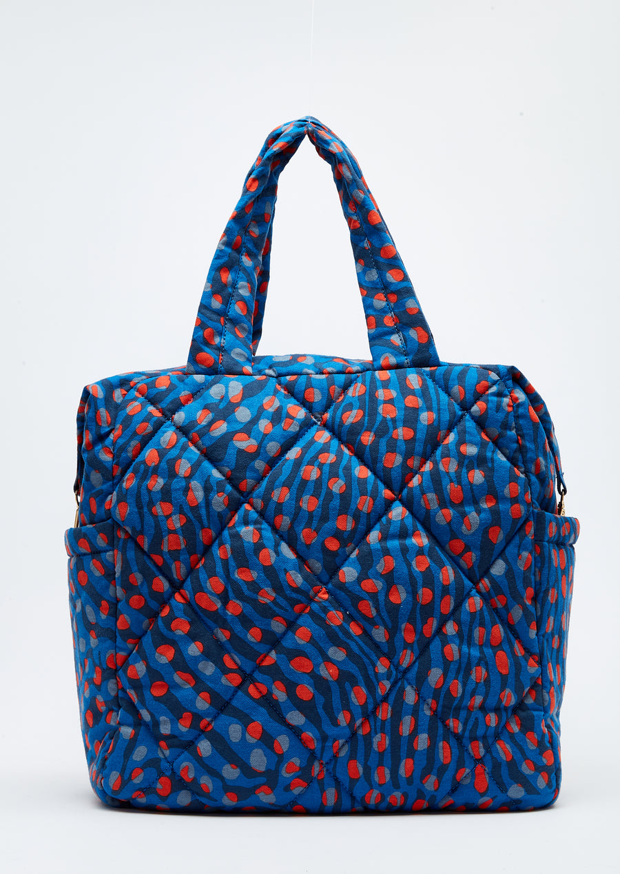 House of Holland large quilted tote bag in navy and orange leopard print