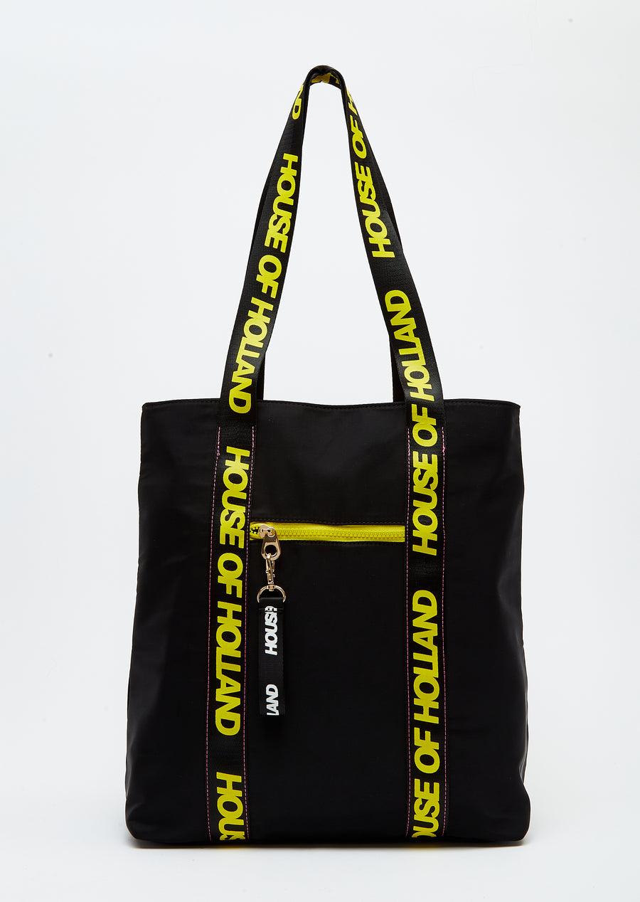 House of Holland Tote Bag with Logo Straps and Contrast Zips in Black