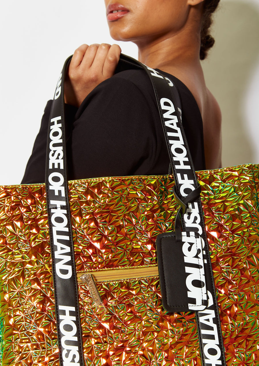 House of Holland tote bag with logo straps in gold iridescent