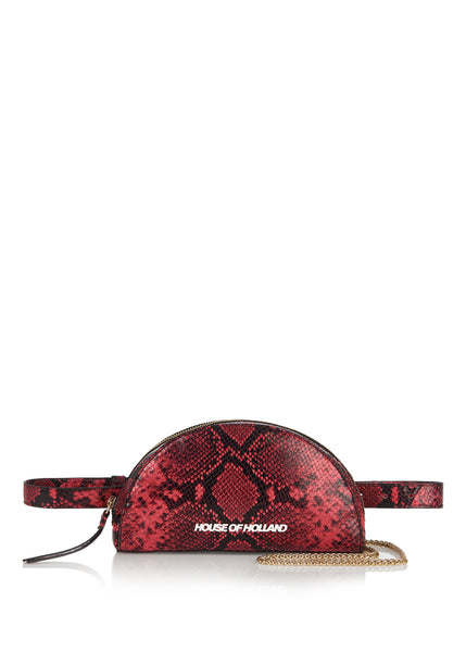 Snake Half Moon Clutch Bag (Red/ Black)