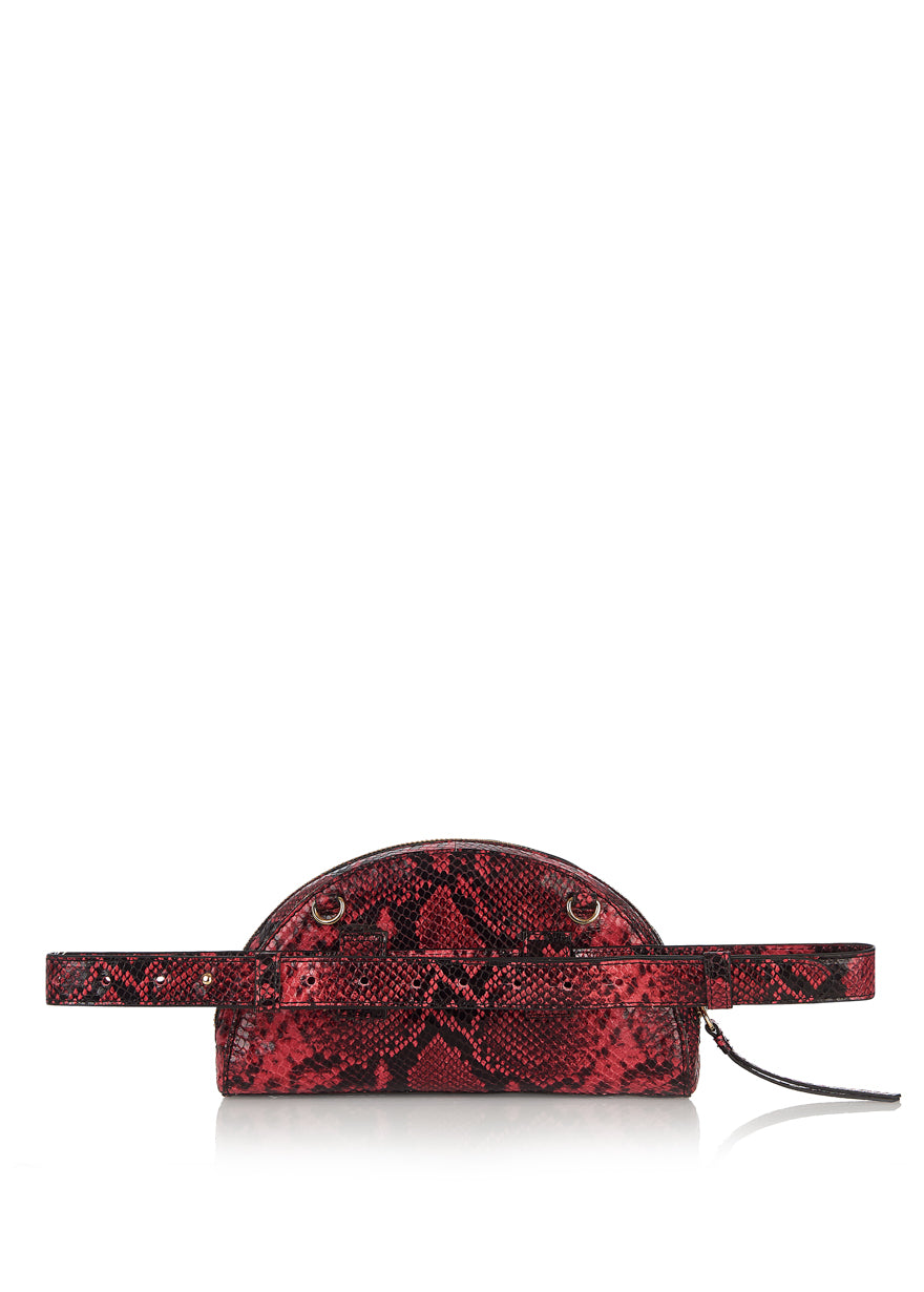 Snake Half Moon Clutch Bag (Rot / Schwarz)