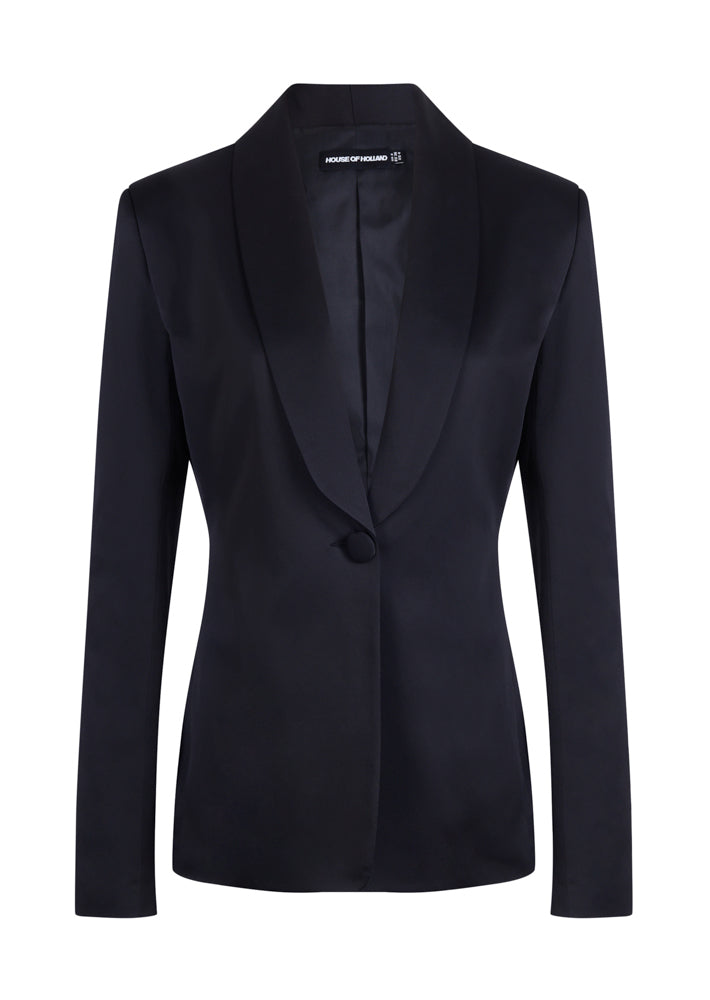 Black Satin Tailored Jacket