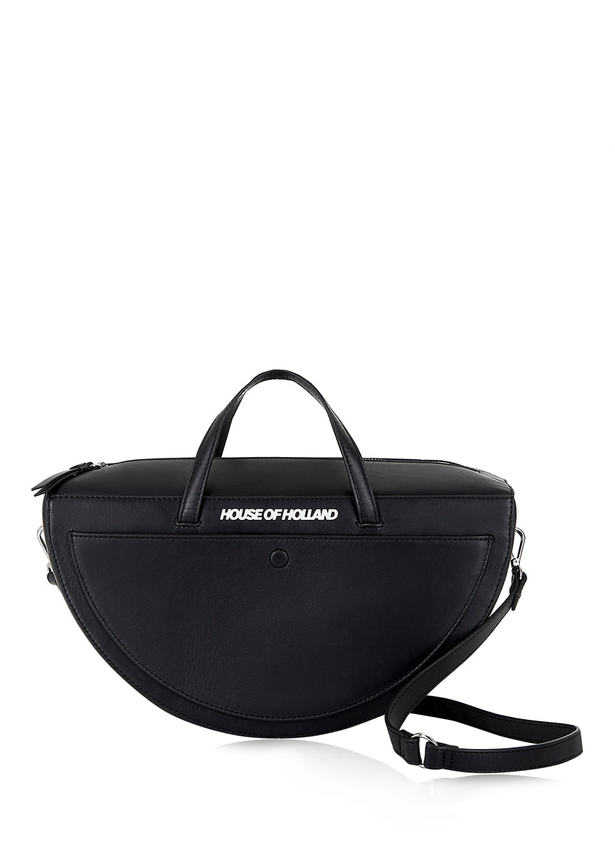 Black Half Moon Top Handle Bag