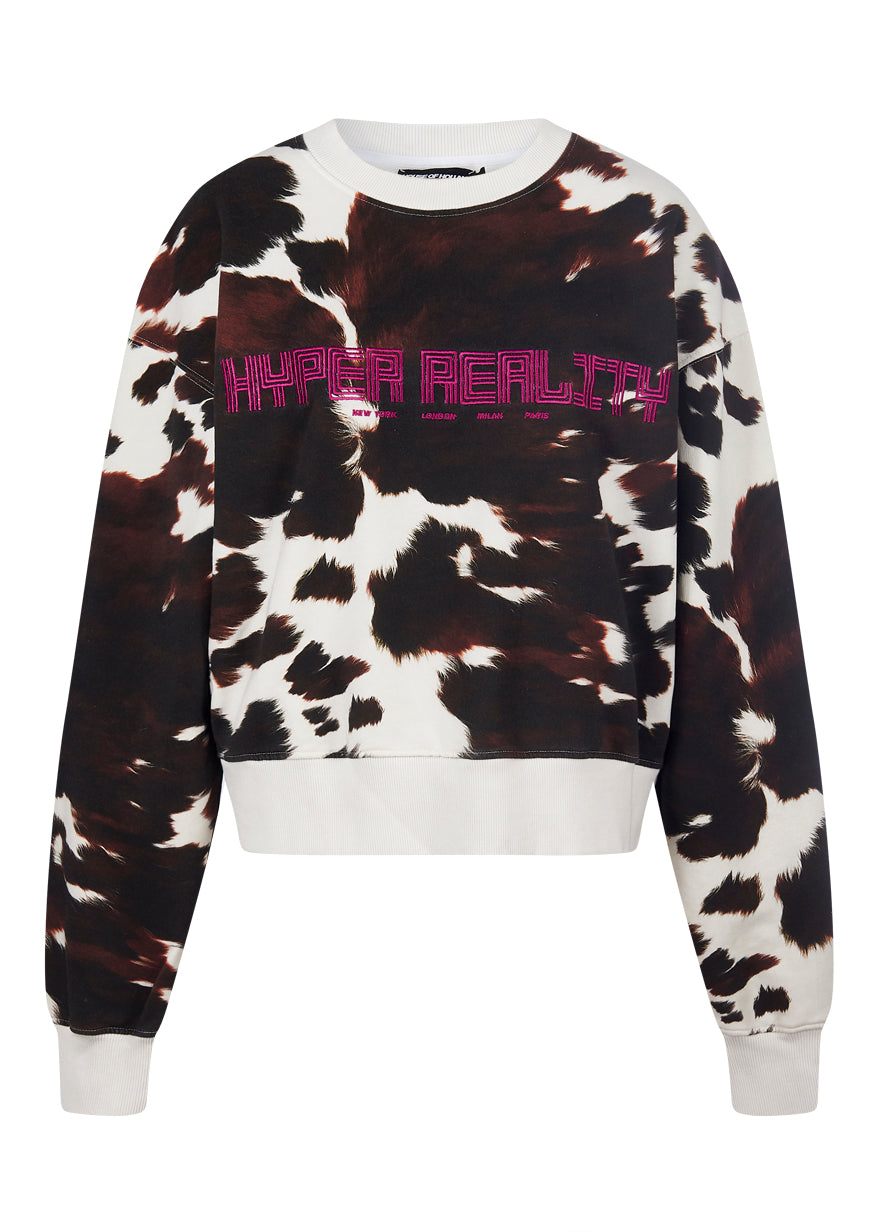 Sweat imprimé vache marron