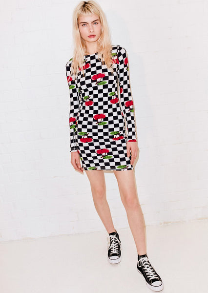 Checkerboard and Cherries Printed Jersey Bodycon Dress