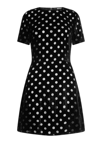 Spot Velvet Mini Fit and Flare Dress