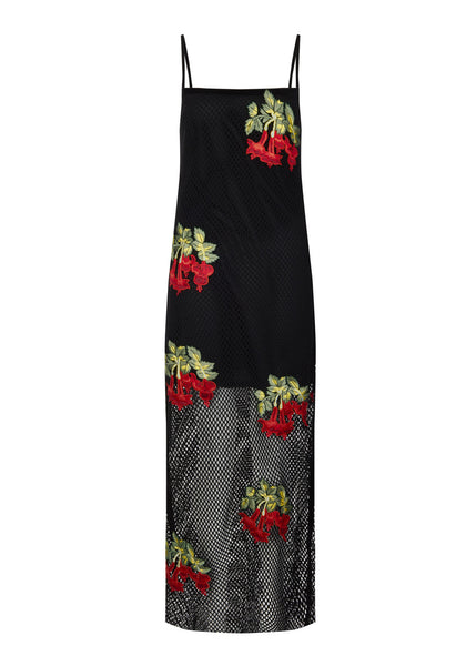 Mesh Maxi Dress With Floral Patches
