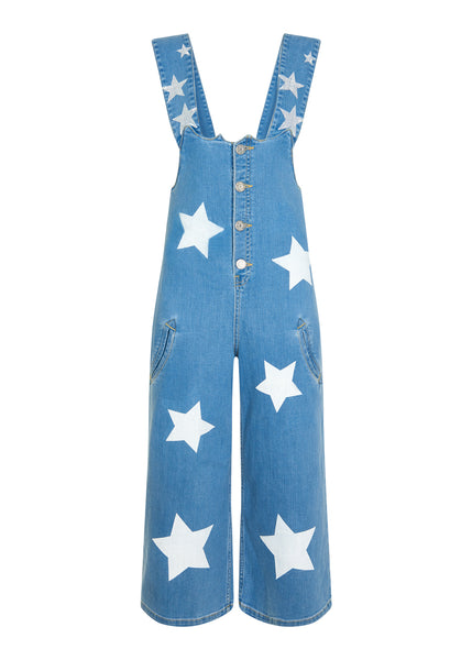 STAR PRINT DENIM JUMPSUIT