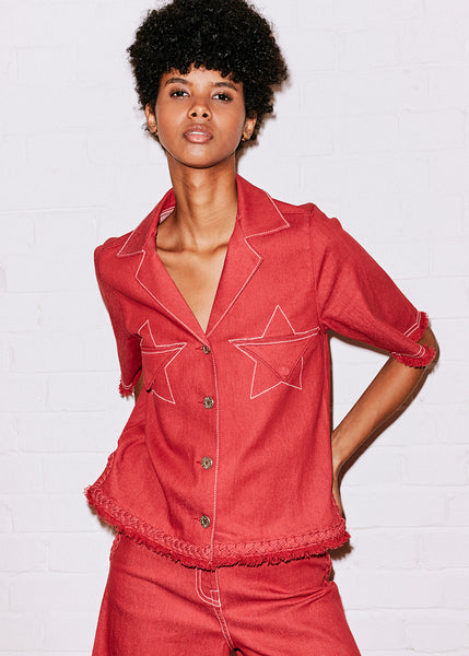 RED DENIM STAR POCKET SHIRT