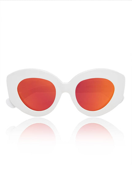 White 'Looper' Mirrored Sunglasses