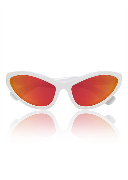White 'Tell Ah' Mirrored Sunglasses