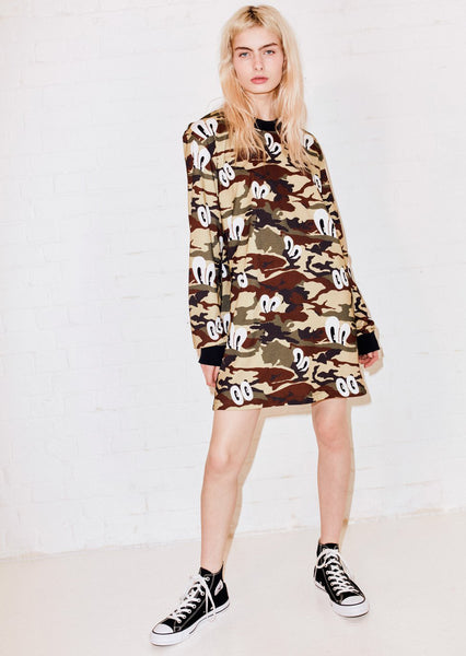 Camo Print Oversized T-Shirt Dress