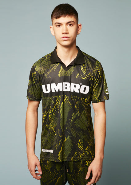 Umbro Snake Print Collared Football Top (Green)