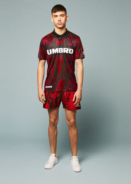 Umbro Snake Print Collared Football Top (Red)
