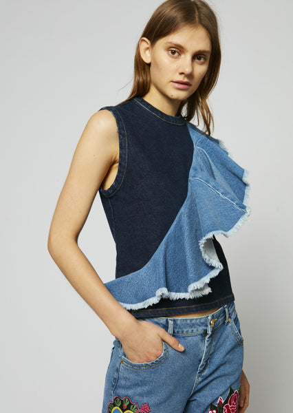 Denim Frill Boxy Top
