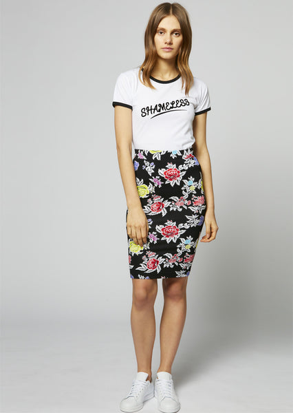 Rose Repeat Jersey Pencil Skirt