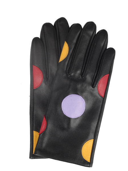 Nappa Leather Applique Gloves (Coloured Polka Dot)