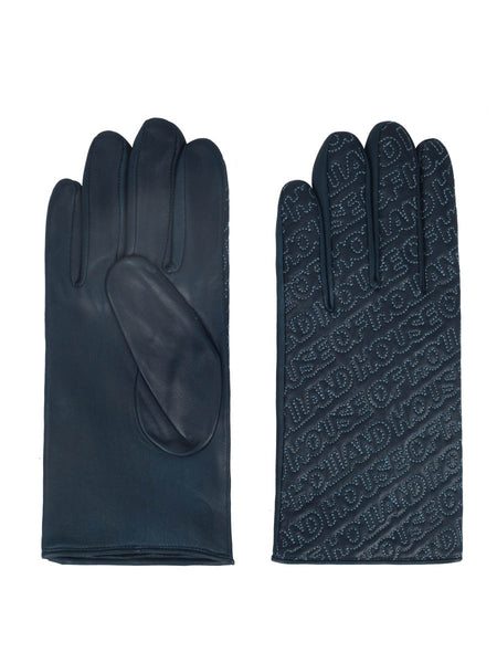 Nappa Leather Logo Gloves (Cobalt)