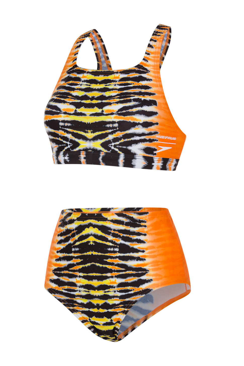 HoH x Speedo Ensemble de bain noir et orange Tie Dye