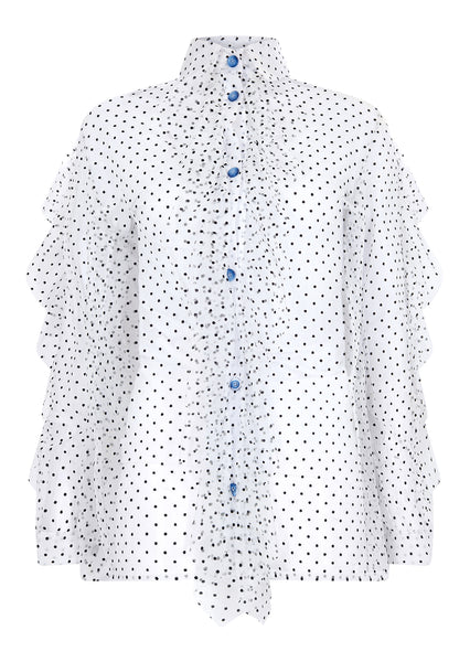 FLOCKED TULLE FRILL SHIRT