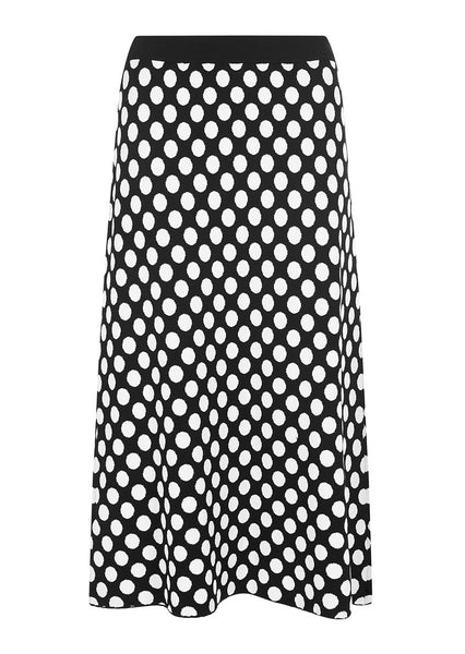 BLACK SPOTTED A-LINE SKIRT