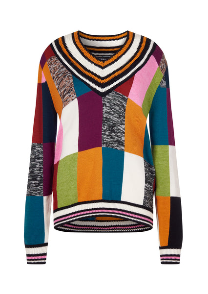KNITTED PATCHWORK CRICKET JUMPER