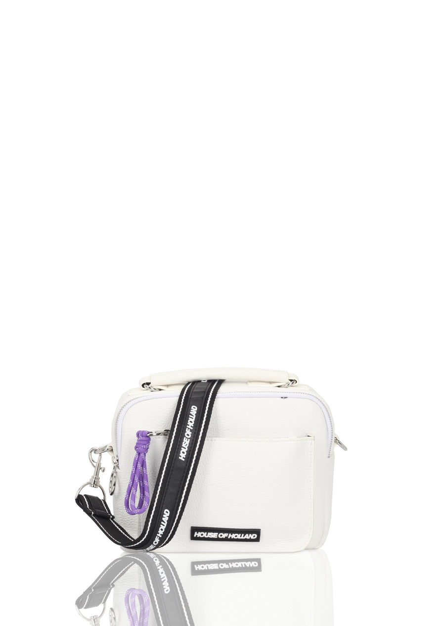 White Double Pocket Cross Body Bag