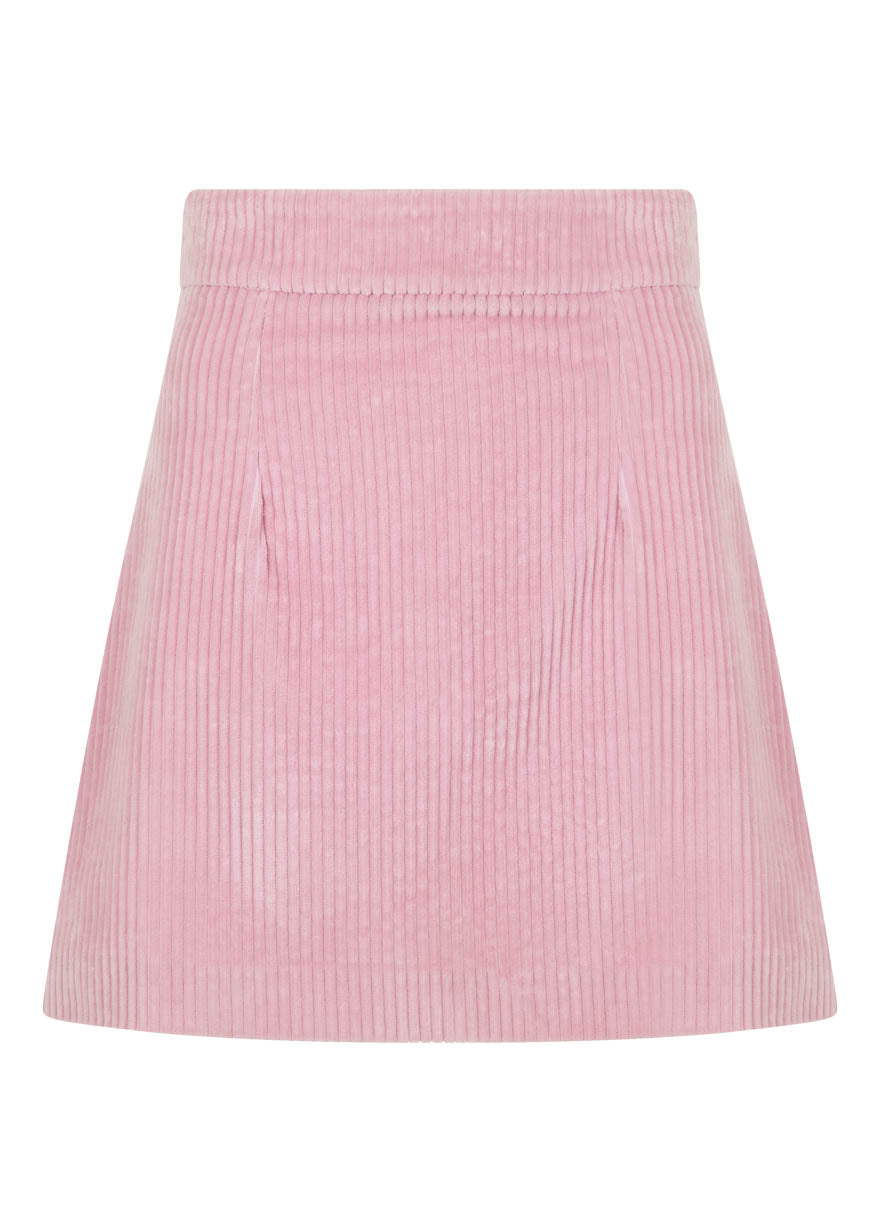 PINK CORDUROY SKIRT WITH ZIP DETAIL
