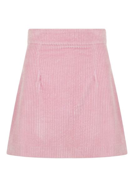 PINK CORD SKIRT WITH ZIP DETAIL