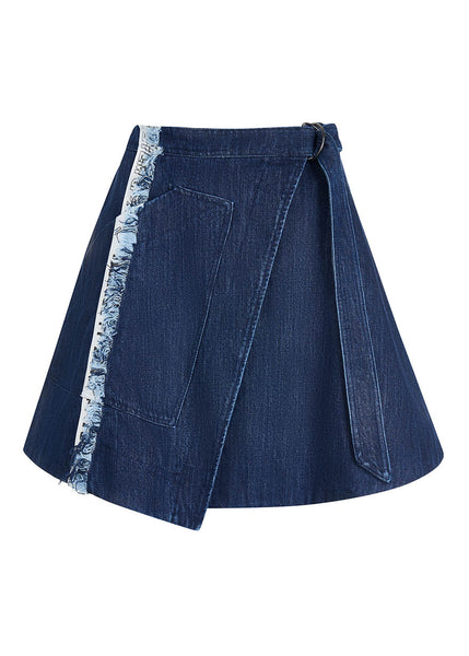 Taped Denim Wrap Skirt
