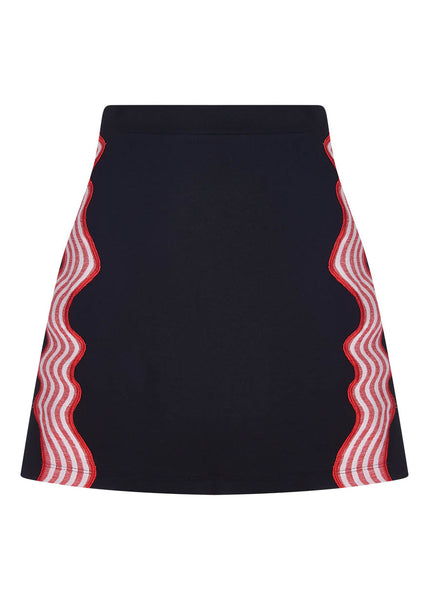 Wave Applique Mini Cotton Skirt
