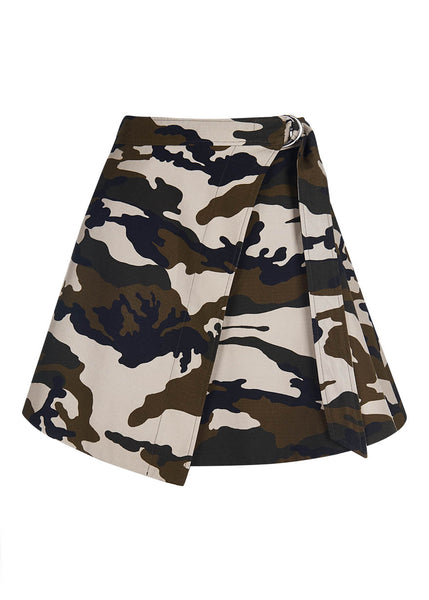 Camouflage Mini Wrap Skirt
