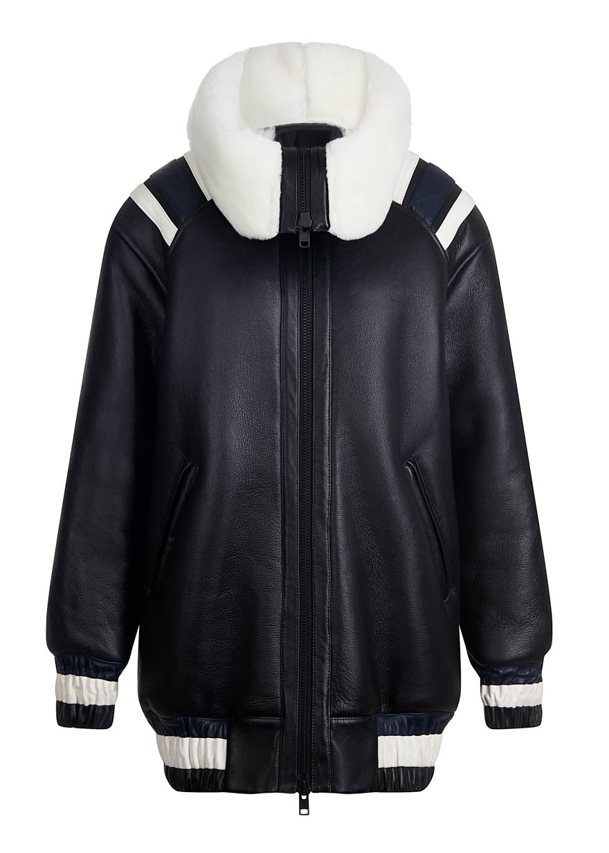 Black Shearling Varsity Jacket By House of Holland