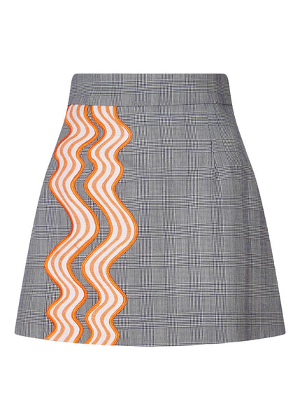 Wavy Trim Prince Of Wales Mini Skirt