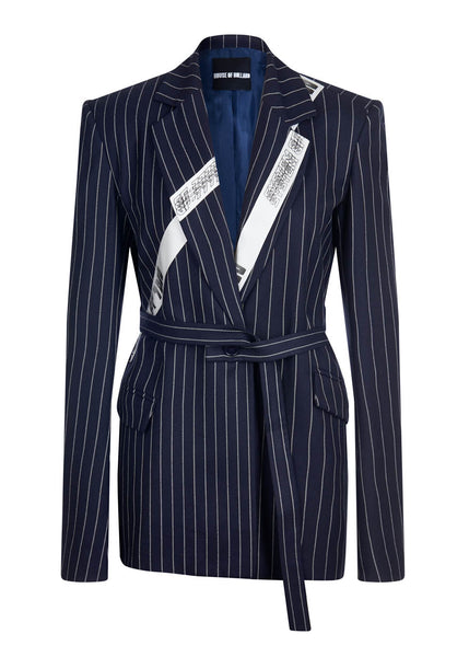 Navy Pinstripe Tailored Wool Jacket