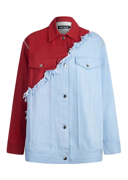Vivid Contrast Oversized Denim Jacket