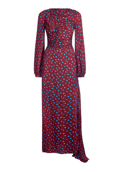 Polka Dot Rouched Maxi Dress