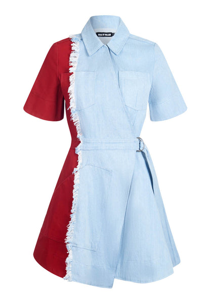 Vivid Contrast Denim Dress