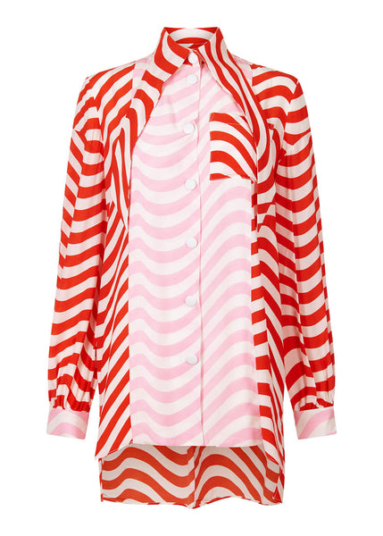 Red And Pink Wave Relaxed Fit Shirt