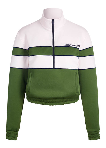'Missy' Contrast Panelled Track Top (Pink & Olive Green)