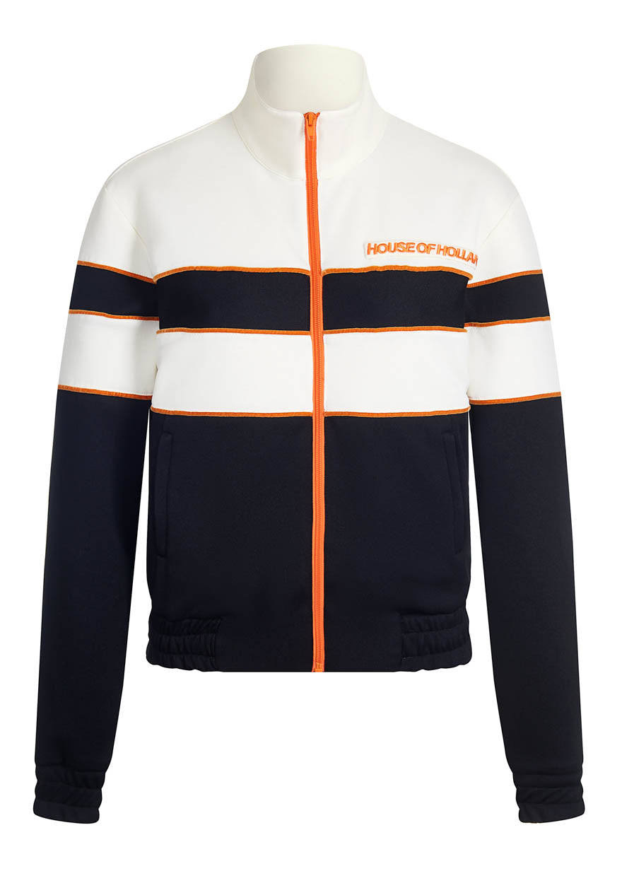 'Missy' Contrast Panelled Track Top (Black & White) by House of Holland