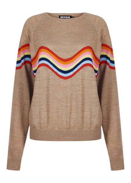 Wavy Peace Cut Out Jumper (Beige)