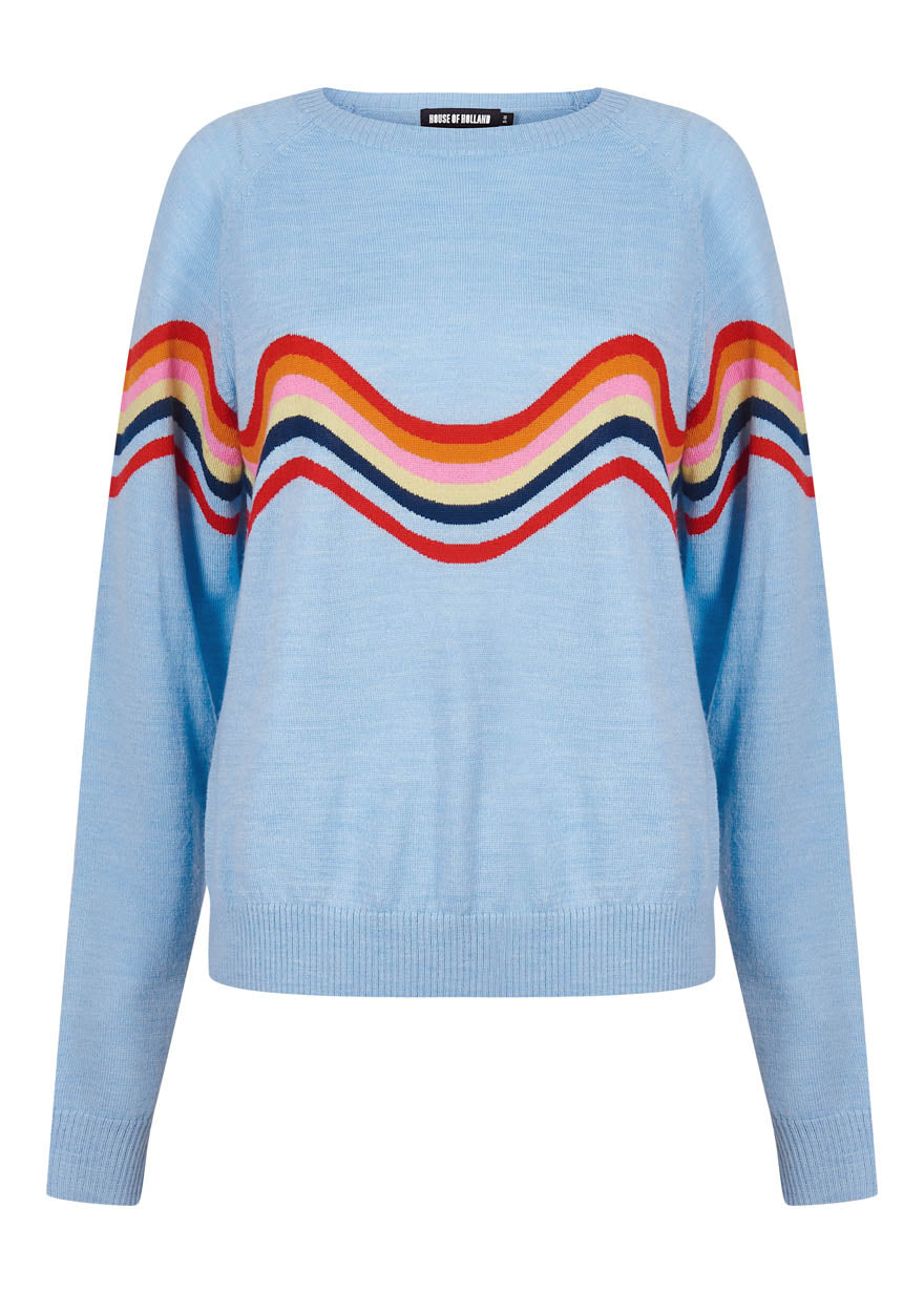 Wavy Peace Cut Out Jumper (Blue)