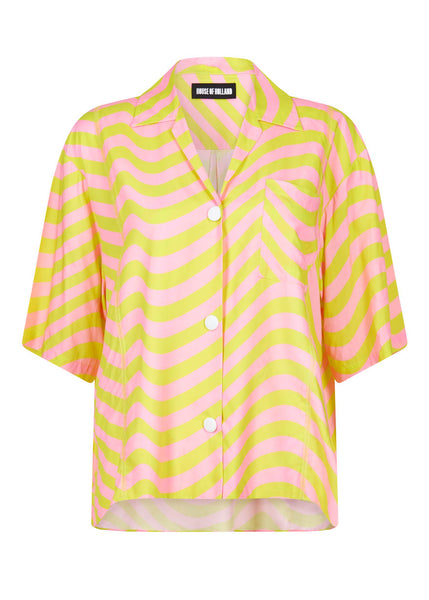 PINK AND LIME BOWLING SHIRT