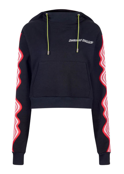 Black Wave Applique Hoodie