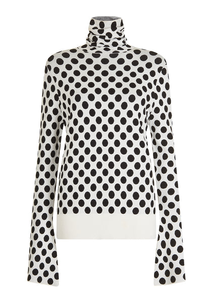 WHITE SPOTTED ROLL NECK JUMPER