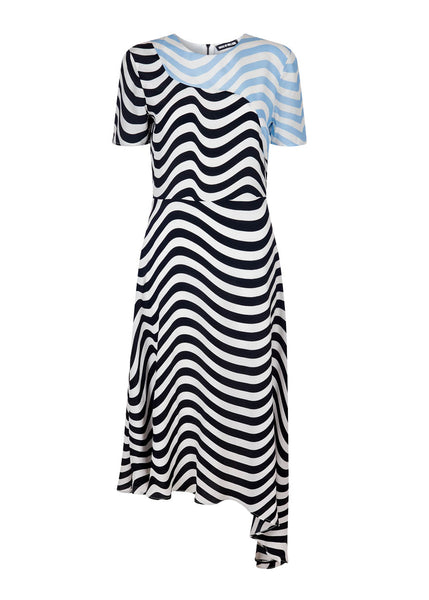 CONTRAST WAVE ASYMMETRIC DRESS