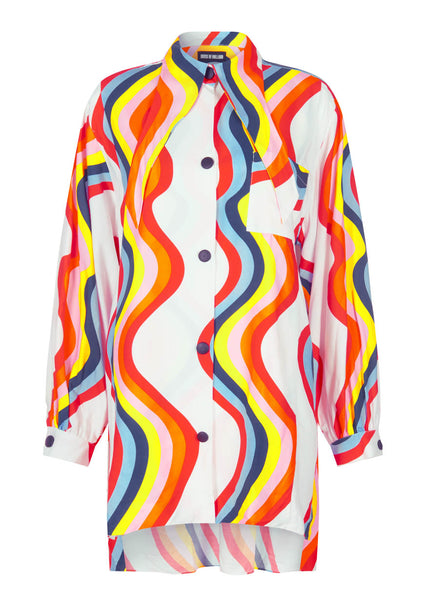 RAINBOW UNDONE COLLAR SHIRT