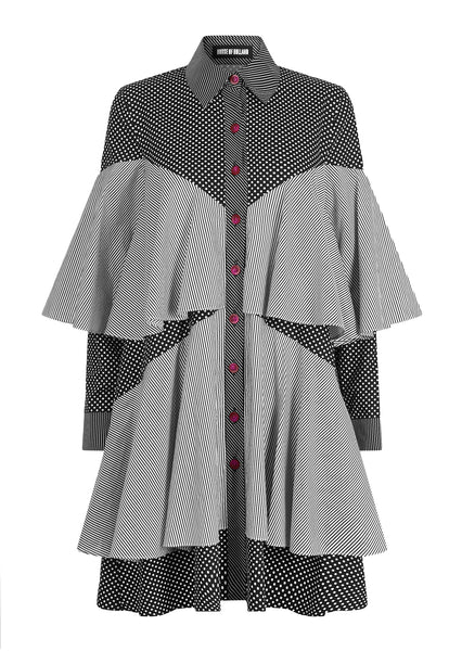 MONOCHROME FRILL SHIRT DRESS